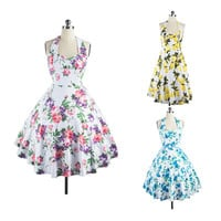 Women Vintage Halter Short Swing 50s 60s Pinup Housewife Floral Party Dress
