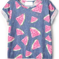 Distress Watermelon Tee - OASAP.com