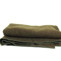 vintage army green Wool Camp Blanket / twin or cot size