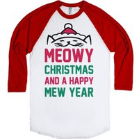 Meowy Christmas-Unisex White/Red T-Shirt