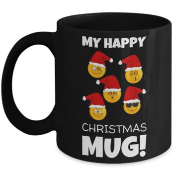 Fun Sayings Happy Mug Gift: Cartoon Cup - Funny Gift For Morning Coffee - Smiley Mug - Holiday Happiness Present - Humor Cup For Hot Cocoa & Tea Lovers