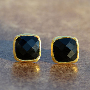 Faceted Cushion square cut Black Onyx Vermeil Gold or Sterling or Oxidized silver bezel set Stud Post Earrings