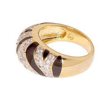 Tiger Stripe Cubic Zirconia and Black Enamel Two Tone Modified Dome Fashion Ring