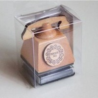 Hand Dial Telephone Wood mounted Rubber Stamp with free ink pad
