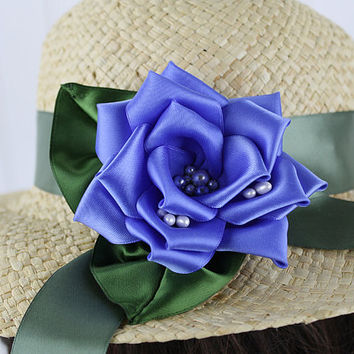 Periwinkle Blue Ribbon Rose Floral Pin, Hat Ornament, Millinery, Ribbon Flower, Vintage Rose, Hat Flower