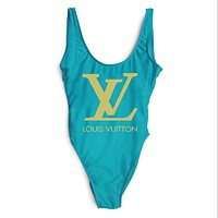 LV Louis Vuitton 2018 Women Sexy Fashion Siamese Bikini Swimsuit F-ZDY-AK blue