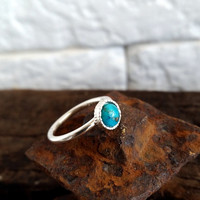HOLIDAY SALE Sterling Silver Turquoise Ring - Genuine Turquoise Ring - Round Turquoise Ring - December Birthstone Ring