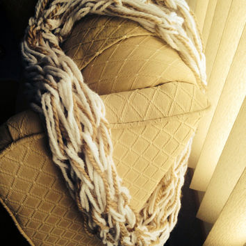 White and Tan Double Wrap Chunky Arm Knit Infinity Scarf