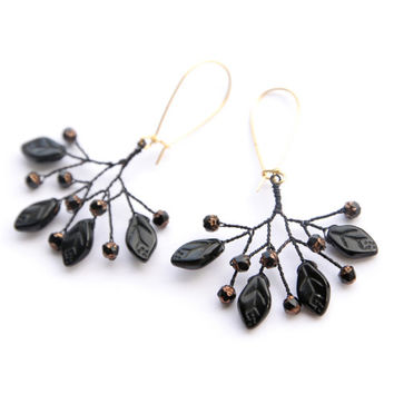 Black Berry Earrings With Black Leaves-  Tree and Branches - Black Wire and Black Beads