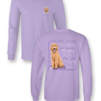 Sassy Frass Love is Wet Noses Puppy Dog Golden Doodle Comfort Colors Long Sleeve T Shirt