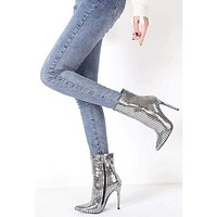 Showtime Pointy Toe Stiletto Heel Booties