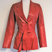 Vintage 70's Red Leather Hipster Jacket by Opera XS/S