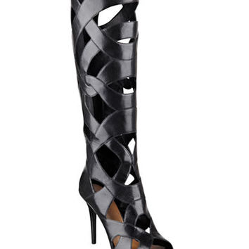 Nine West Dewey Caged Leather Boots