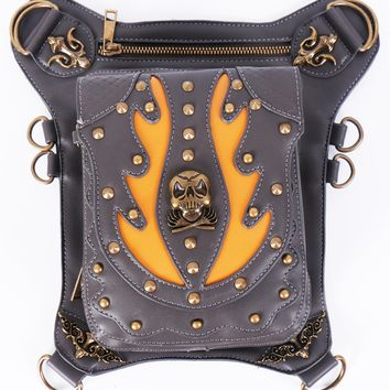Goth Steampunk Vegan Leather Studded Skull Bag