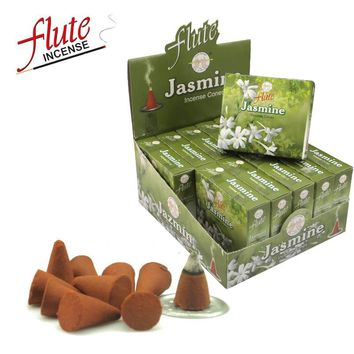 FLUTE 120 Cones/Pack Jasmine Aroma Spice Cone Incense Hand Rolled from Indian Moderate Fragrance cone Incense For Meditation