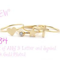 SET OF ANY 3 Alphabet Rings, Stackable Initial Rings, 14k Gold Plated,Valentines Day 14k Gold Plated rings, Letter Rings