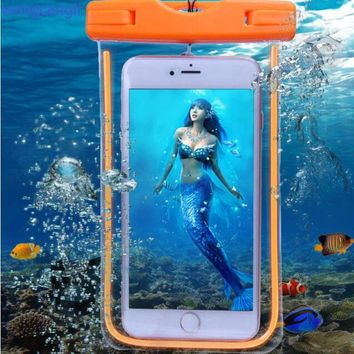 Wangcangli waterproof case for phone Samsung underwater light box GALAXY NOTE 5 4 3 2 A5 A7 J5 J7 rear cover for iPhone 6S 6sp