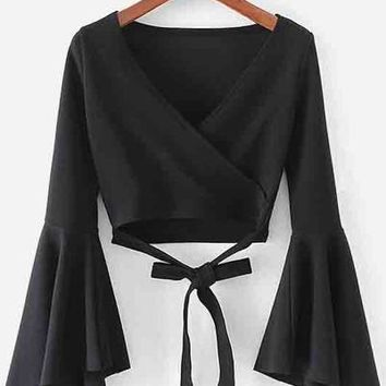 Black Bell Sleeve Knotted Hem Surplice Blouse