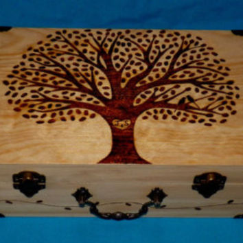 Rustic Wedding Box Custom Guest Box Wood Burned Box Suitcase Wooden Wedding Tree Keepsake Card Box Personalized Trunk Love Birds Wood Gifts