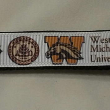 Handcrafted Western Michigan University Broncos Key Chain Wristlet