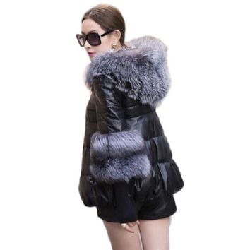 2016 New! Winter Jacket Women Slim Thick Warm Large Fur Collar Hooded High Quality Leather Jacket Women Plus Size Faux Fur Coat