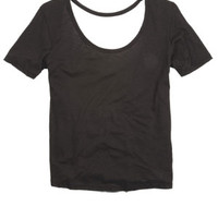Callie Open Twist-Back Short-Sleeve Tee