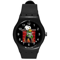 Christmas, Snoopy on Fireplace Boys or Girls Black Plastic Watch