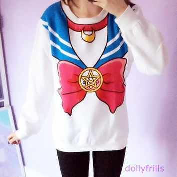 {Best Seller! }Sailor Moon Sweater Jumper Pullover Free Ship SP130203 from SpreePicky