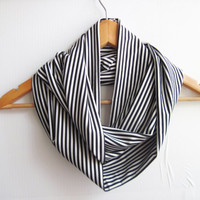 Black and White Stripes Scarf Jersey Scarf İnfinity Scarf