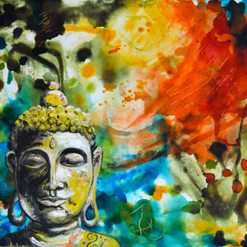 Autumn Wind Buddha Original Oil, Alcohol Ink Painting