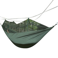 Weanas® Portable High Strength Parachute Fabric Skeeter Beeter Mosquito Traveler Pro Hammock With Zippered Mosquito Net For Outdoor Camping Travel (Olive)