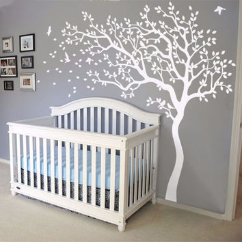 Huge White Tree Flowers Vinyl Wall Decal Nursery Tree and Birds Wall Sticker Art Baby Kids Bedroom DIY Home Decor Mural A-156