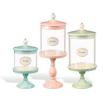 Just Desserts Pedestal Candy Jars: Set of 3 | CandyWarehouse.com Online Candy Store