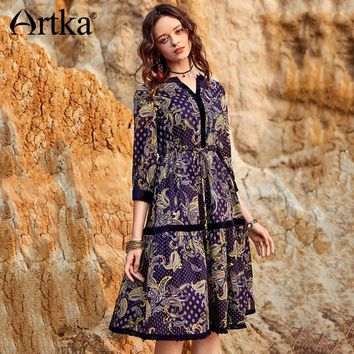 Artka 2018 Autumn Women Cotton Exquisite Floral Embroidery V-neck Three Quarter Sleeve Velvet Stitching Big Swing Dress LA11981X