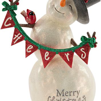 Merry Christmas Snowman with Banner Figurine