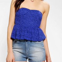 Pins And Needles Strapless Lace Peplum Top