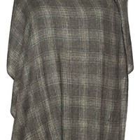Men's Plaid Cashmere Wool Scarf, Gray