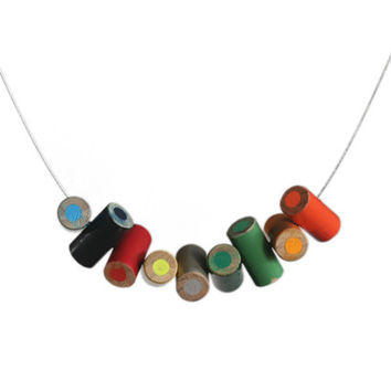 Stacked colored pencil necklace on cable