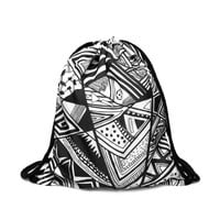 Drawstring Backpack in chic aztec pattern in black color for draw string bag