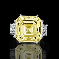 12ct. Asscher cut center set with double sided baguettes vintage canary ring simulated diamond-diamond veneer
