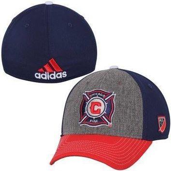 Men's Chicago Fire SC adidas Gray Authentic Team Structured Flex Hat