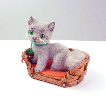 Kunstlerschutz  Kitten in Basket- Flocked Kitty Cat Hand Made in West Germany-Gray Kitten- Miniature Kitty