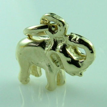 Detailed high quality 3 Dimensional Lucky Elephant 9ct/10K Gold Charm - Pendant