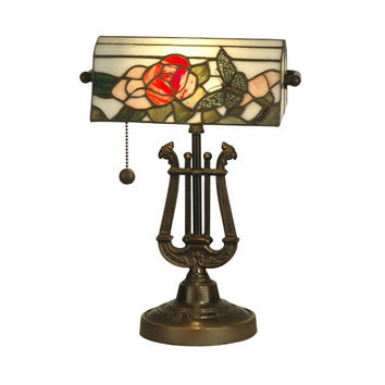 Dale Tiffany TT90186 Antique Bronze 16-Inch Broadview Bankers Lamp