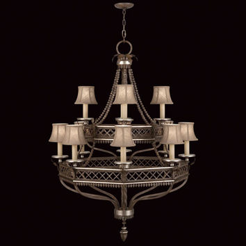Fine Art Lamps 807240ST Villa Vista 12-Light Chandelier in Hand Painted Driftwood Finish On Metal with Silver Leafed Accents