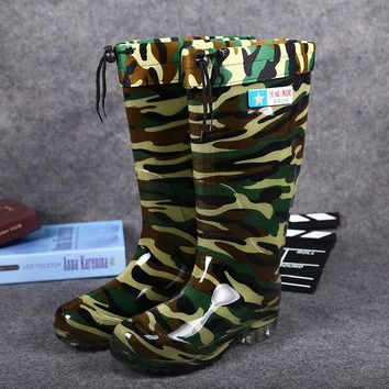 2016 highwinter fishing boots  man PVC camouflage rain boots fashion fishing  boots men's Washing shoes work boots  bot