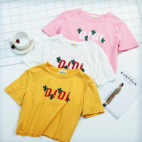 """OIOI"" letters print women top loose tee T-shirt blouse"