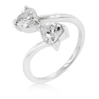 Silvertone Finish Dual Hearts Anniversary Ring, size : 09