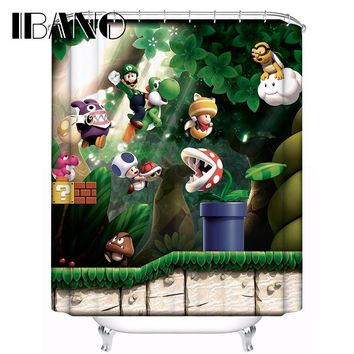 Super Mario party nes switch  Shower Curtain Pattern Customized Bath Curtain Waterproof Polyester Fabric 180x180cm Shower Curtain For Bathroom AT_80_8