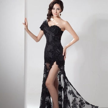 black long prom dress applique sheer one from Dear Deer Fashion
